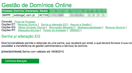 Transferir domínio Registrar